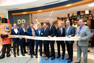 Ink by Hudson and Dunkin' Opens at Boston Logan - cutting the ribbon